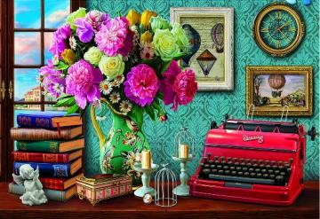 Interior. - Interior with a typewriter. Colorful bouquet in the interior. Colorful Bouquet.
