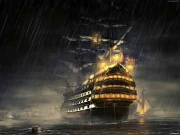 Żaglowiec - Obraz Żaglowiec  w czasie burzy