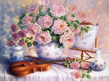 Painted roses. - Painted roses. Violin.