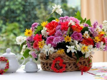 kosz kwiatów - kosz kwiatów , dekoracja