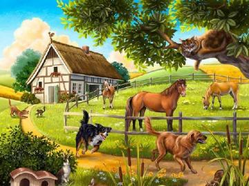Rural landscape. - Rural landscape. For children. Puzzle for children. Children's puzzles.