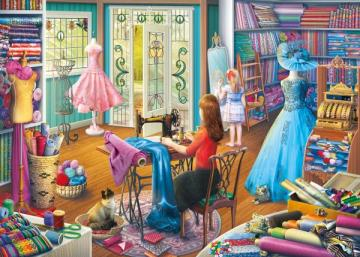 The interior of the tailor's workshop. - The interior of the tailor's workshop. Artistic puzzles.