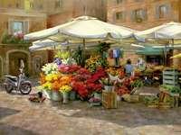 På blommamarknaden.