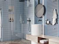 Błękitna łazienka - Błękitna łazienka, piękna aranżacja