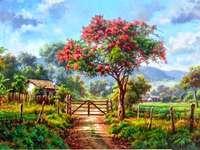 Landschaft - ländliche Landschaft, Bauernhof, blühender Baum, Berge am Horizont