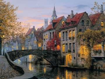Niederländische Häuser am Fluss. - Niederländische Häuser am Fluss.