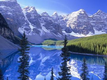 Beautiful moraine lake - It's a moraine lake. Moraine lake - formed as a result of water damages caused by sediments of