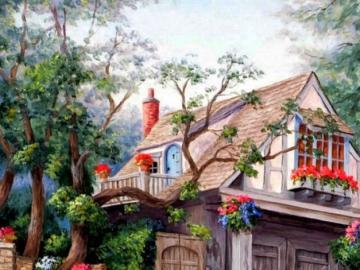 A fairy-tale house among trees - A fairytale house among trees, flowers, stairs