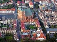 Luchtfoto van het marktplein van Kołobrzeg