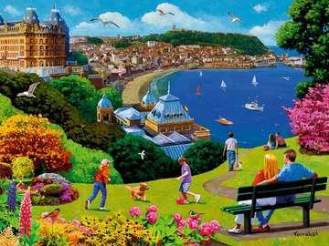 Seaside town. - Landscape of the seaside city.