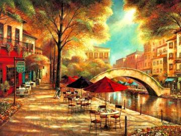 Paysage urbain - Peinture. Paysage urbain.