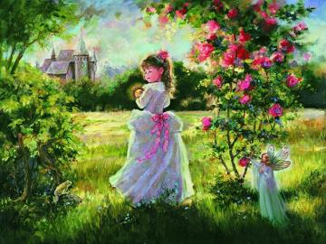 The girl in the garden. - Painting. The girl in the garden.