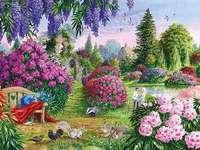 Een beschilderde tuin. - Schilderen. In een beschilderde tuin.