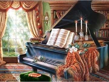 Interior with a grand piano. - Puzzle: interior with a piano.