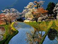 Japonská krajina. - Puzzle. Japonská krajina.