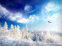 Zimní krajina. - Velmi zimní krajina.