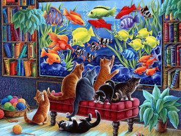 Katzen und Aquarium. - Puzzle: Katzen und Aquarium.