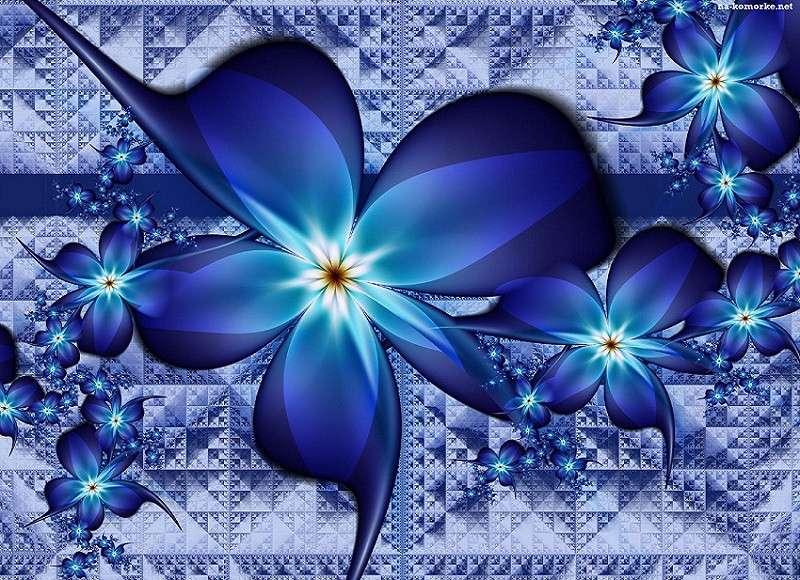 Niebieskie - Kwiaty na   niebiesko (14×14)