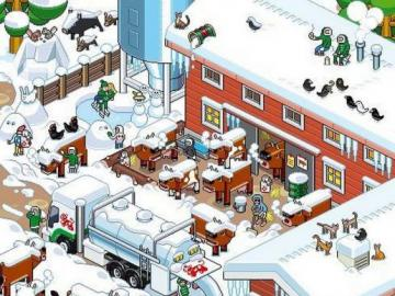zima w Szwecji - Zima w Szweckim miasteczku ilustracja
