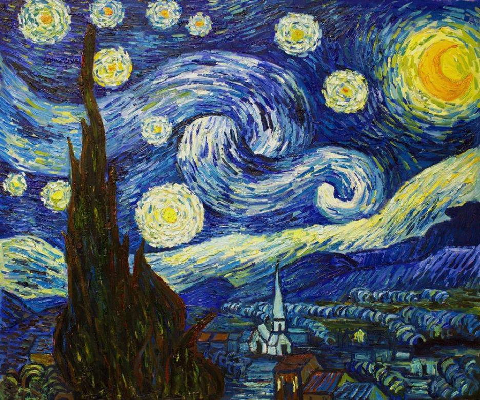 Night Van gogh - pictură renumită van Gogh (14×12)