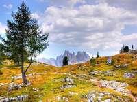 Berglandschap - Stenen en kiezels en bergen.