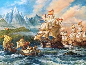 Marine puzzle. - Landscape. Marine puzzle.