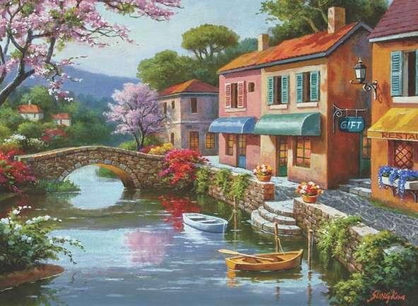 festmény - Házak a folyón. Festés. Házak a folyón. Puzzle: házak a folyón (10×10)