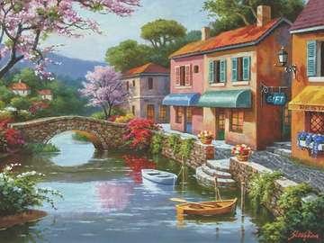 peinture - Peinture. Maisons au bord de la rivière.