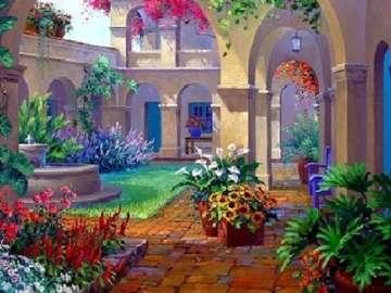 Вътрешен двор с чешма. -  Цветя на вътрешния двор.