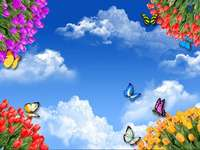 Tulipány a motýli. - Puzzle: tulipány a motýli.