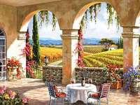 Tuscan landskap. - Pussel: det toskanska landskapet.