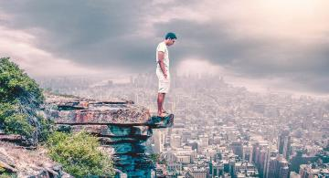 On the edge - The world belongs to the courageous.
