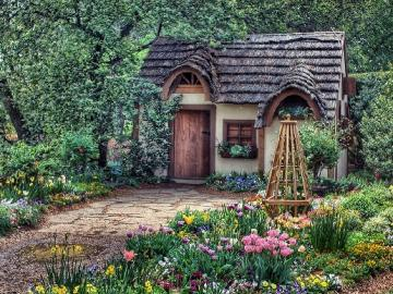 Cottage in the garden.