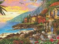 Côte méditerranéenne. - Peinture. Peinture. Paysage de l'île.