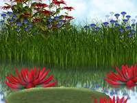 Lagoa e flores