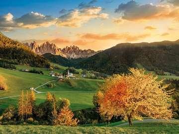 Alpine landscape. - Jigsaw puzzle. Alpine landscape.