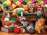 macska szórakozás a stúdióban kirakós játék