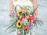 Színes esküvői csokor