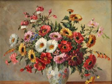 Colorful flowers. - Painted colorful flowers. Puzzle: pastel bouquet. Painting; Flowers in a vase. Pastel Bouquet. Flowe