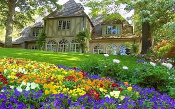 stylish house with a garden - stylish house with a garden, trees, flowers, greenery