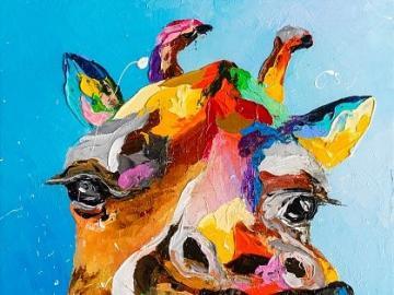 Colorful giraffe - Colorful giraffe on canvas