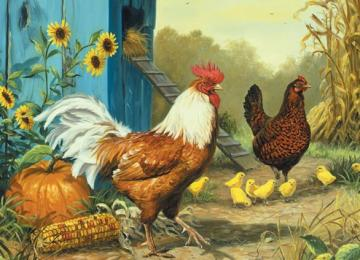 Kurza's family. - Puzzle: dusty family. Puzzle: a hen's family. Painting.
