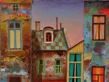 A couple on the background of buildings - Couple on the background of buildings, painting.