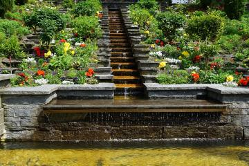 Cascade and flowers - Colorful and floral with a little water.
