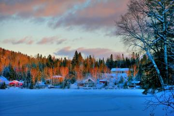 Winter landscape - Snow tree houses and beautiful sky.