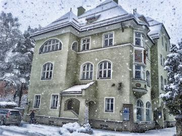 It's snowing - People are falling snow on houses on the streets.