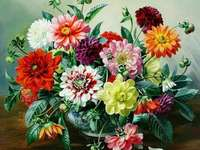 Colorful dahlias. - Colorful dahlias in a vase. Painting. Puzzle from a distance. Flowers. Colorful Dahlias. Painted Dah