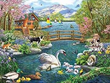 A colorful picture. - Landscape. Colorful puzzle.
