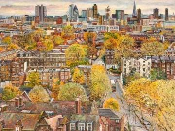 Angielskie jesienne miasto - Angielskie jesienne miasto, malarstwo