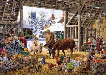 in a rural barn - In a rural barn, illustration